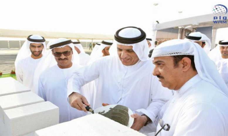 Sheikh Saud bin Saqr Al Qasimi lays the foundation stone for the housing project. (WAM)