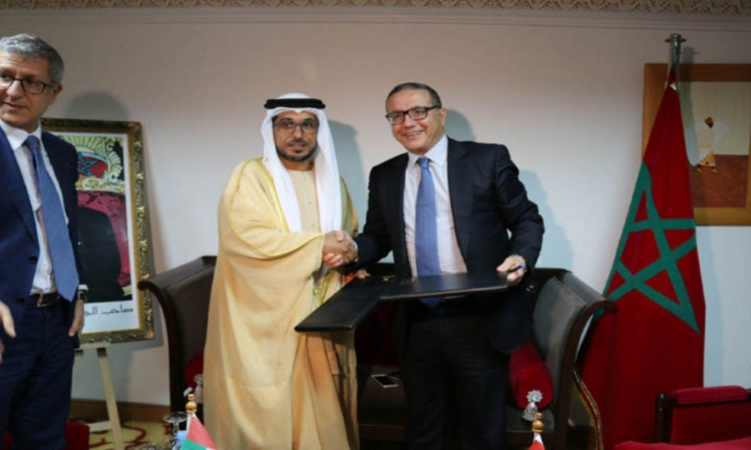 Mohammed Saif Al Suwaidi, Director-General of ADFD, and Mohamed Rabie Khlie, CEO of ONCFM, at the signing agreement. (WAM)