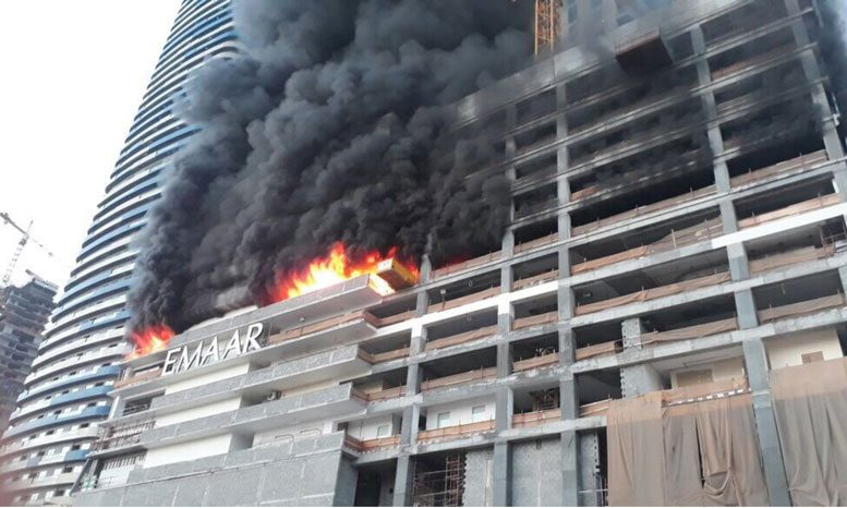 Emaar's Fountain Views Towers development damaged from fire (source: ME Construction News)