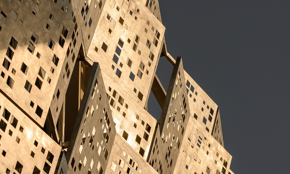 1. A decorative façade of a building in the Opportunity District