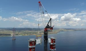 Marr Contracting completes world-record lift during construction of Turkey's 1915 Çanakkale Bridge